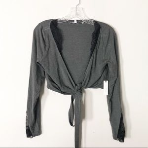 Lovers + Friends Gray Tie Front Crop Top with Lace